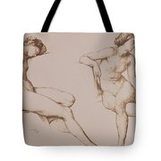 Sepia Drawing Of Nude Woman Tote Bag