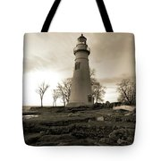 Sepia Marblehead Lighthouse Tote Bag