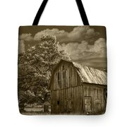 Sepia Michigan Barn Landscape Tote Bag