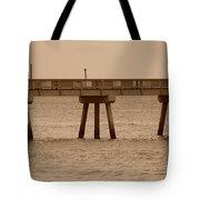 Sepia Pier Tote Bag