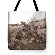 Sepia-toned Blooming Almond Trees Of Fikardou Village 2 Tote Bag
