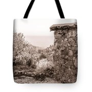 Sepia-toned Fikardou Village Scene 1 Tote Bag