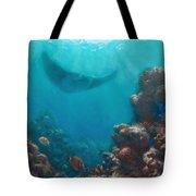 Serenity - Hawaiian Underwater Reef And Manta Ray Tote Bag