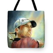 Sergio Garcia In The Castello Masters Tote Bag