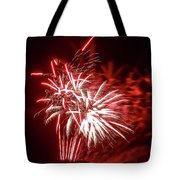Series Of Red And White Fireworks Tote Bag