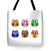 Set Of Six Little Owlets Tote Bag