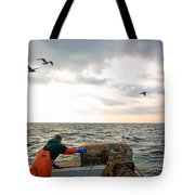 Setting Lobster Traps In Chatham On Cape Cod Tote Bag