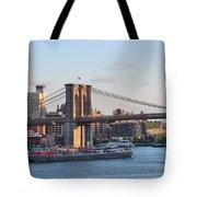 Setting Sun On Brooklyn Bridge Tote Bag