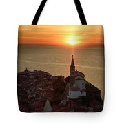 Setting Sun On The Adriatic Sea Behind Archangel Michael On Top  Tote Bag