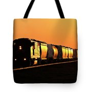Setting Sun Reflecting Off Train And Track Tote Bag