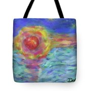 Setting Sun, Stars And Water Tote Bag