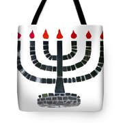 Seven-branched Temple Menorah Tote Bag by Christine Till