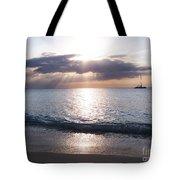 Seven Mile Beach Catamaran Sunset Grand Cayman Island Caribbean Tote Bag by Shawn O'Brien