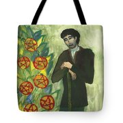 Seven Of Pentacles Illustrated Tote Bag