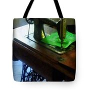 Sewing Machine With Green Cloth Tote Bag