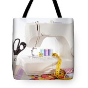 Sewing Machine With Many Sewing Utensils On A Wooden Box Tote Bag