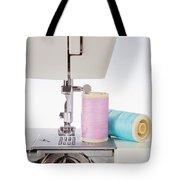 Sewing Threads In Pastel Colors And Detailed View Of A Sewing Machine Tote Bag