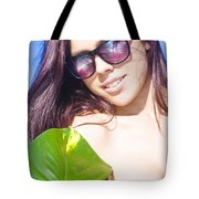 Sexy Beach Girl With Leaf Tote Bag