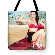 Sexy Beach Pin Up Girl Wearing High Heels Tote Bag
