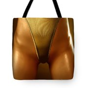 Sexy Covered With Gold Woman In High Cut Swimsuit Tote Bag