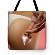 Sexy Fitness Woman With An Appetizing Strawberry Tote Bag