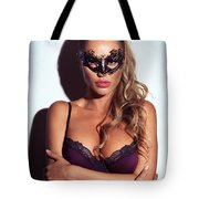 Sexy Glamorous Woman Wearing A Mask Tote Bag