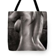 Sexy Nude Woman In Steam Room Naked Back Artistic Black And Whit Tote Bag