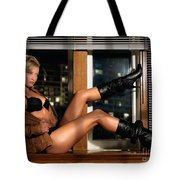 Sexy Woman In Lingerie Sitting On A Window Sill Tote Bag