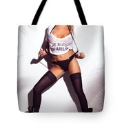 Sexy Woman In Wet Je Suis Charlie Shirt And Stockings Charlie Riina Tote Bag