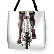 Sexy Woman Riding A Bike Tote Bag