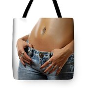 Sexy Woman With Pierced Belly In Blue Jeans Tote Bag