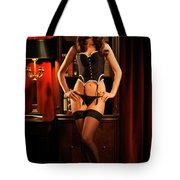Sexy Young Woman In Black Lingerie Tote Bag