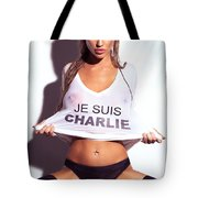 Sexy Young Woman In Wet Je Suis Charlie Shirt Charlie Riina Tote Bag