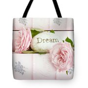 Shabby Chic Cottage Pink Roses On Pink Books - Romantic Inspirational Dream Roses  Tote Bag