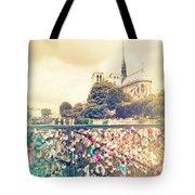 Shabby Chic Love Locks Near Notre Dame Paris Tote Bag