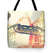 Shabby Chic Moulin Rouge Metro Sign Paris Tote Bag