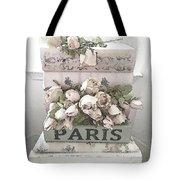 Paris Shabby Chic Pastel Paris Books Roses - Paris Shabby Cottage Watercolor Roses Tote Bag