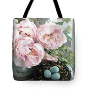 Shabby Chic Peonies With Bird Nest Robins Eggs - Summer Garden Peonies Tote Bag