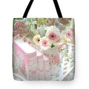 Shabby Chic Pink And Yellow Gerber Daisies Floral Art - Spring Cottage Daisies Floral Art Tote Bag
