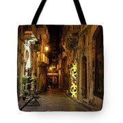 Shabby Chic - Small Street Night Walk In Syracuse Sicily Tote Bag