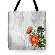 Shabby Chic Wildflowers On Wood Tote Bag