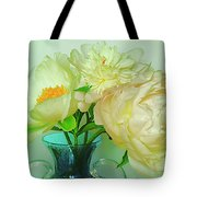 Beautiful Peony Flowers  In Blue Vase. Tote Bag