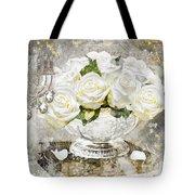 Shabby White Roses With Gold Glitter Tote Bag
