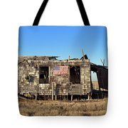 Shack With American Flag Tote Bag by John Greim