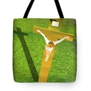 Shadow Of The Christ Tote Bag