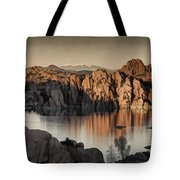 Shadows Of The Setting Sun Des Tote Bag
