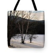 Shadows On A Snow Covered Field Tote Bag