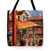Shakespeare Performing At The Globe Theater Tote Bag