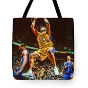 Shaquille O'neal Los Angeles Lakers Oil Art Tote Bag