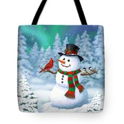 Sharing The Wonder - Christmas Snowman And Birds Tote Bag